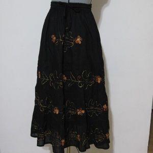 Dresses & Skirts - Black Boho Midi Skirt w/ Orange Details